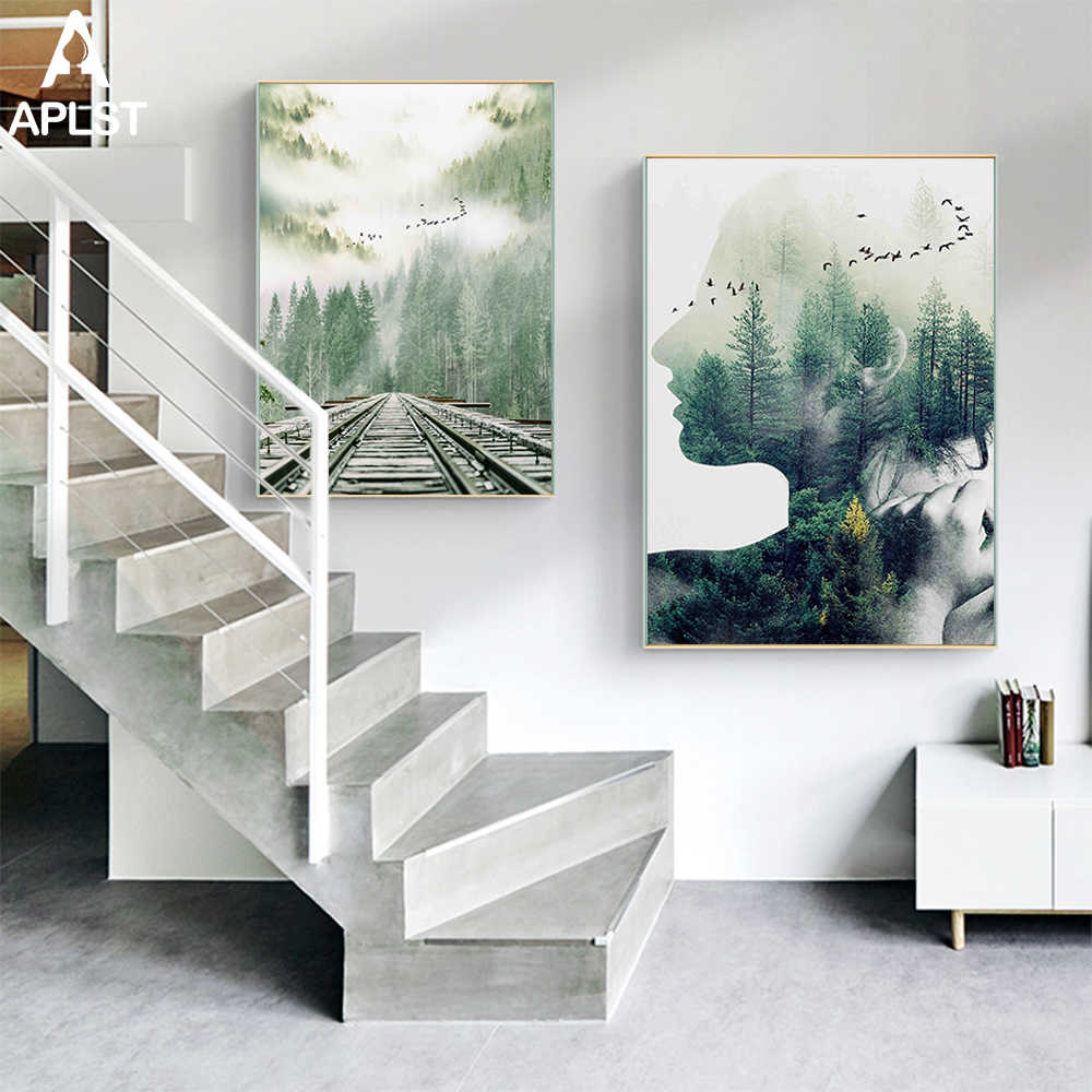 Women Profile Nordic Forest Landscape Abstract Prints Painting Poster Canvas Printings Picture Wall Art Decor for Living Room
