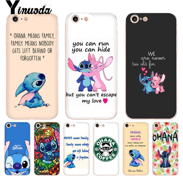 innovative design ad9d9 ed959 US $1.19 6% OFF|Yinuoda For iphone 7 6 X Case Lilo and Stitch Quote Ohana  means Family Phone Case for iPhone 8 7 6 6S Plus X 10 5 5S SE 5C XS XR-in  ...