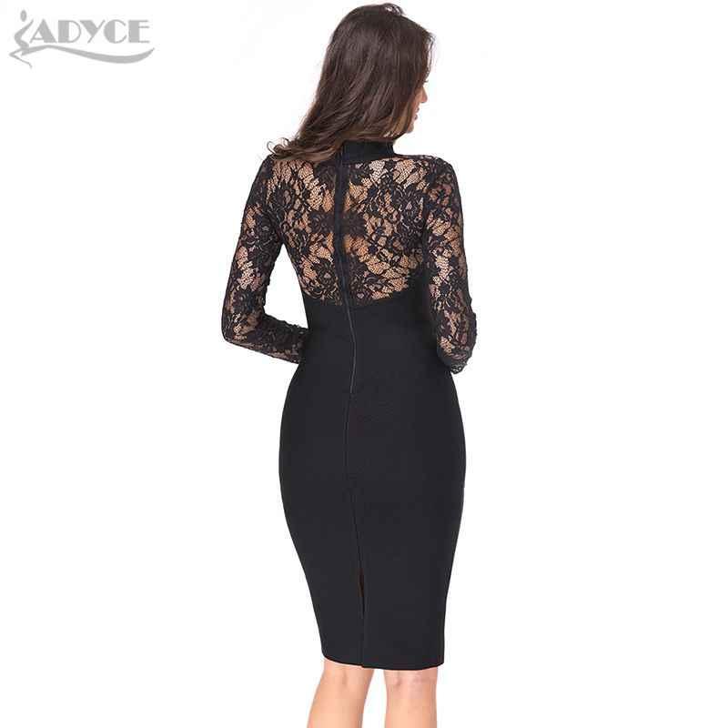 ADYCE 2019 חדש קיץ נשים סלבריטאים המפלגה שמלה ארוך שרוול חלול החוצה חמה Bodycon שמלה שחור תחרת Midi תחבושת שמלה vestido