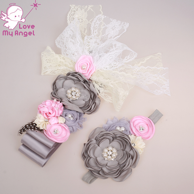 Grey Floral Sash Belt Newborn Flower Sash And Headband Set Maternity