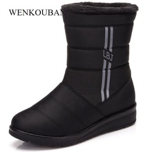 Waterproof Women Winter Boots Female Shoes Mid-Calf High Down Boots Ladies Warm Snow Bootie Wedge Rubber Plush Insole Bota Mujer