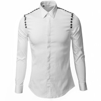 Personality Rivet Star Men Shirts Slim Body Classic Non Ironing Shirt Casual Breathable Clothing Fashion Basic