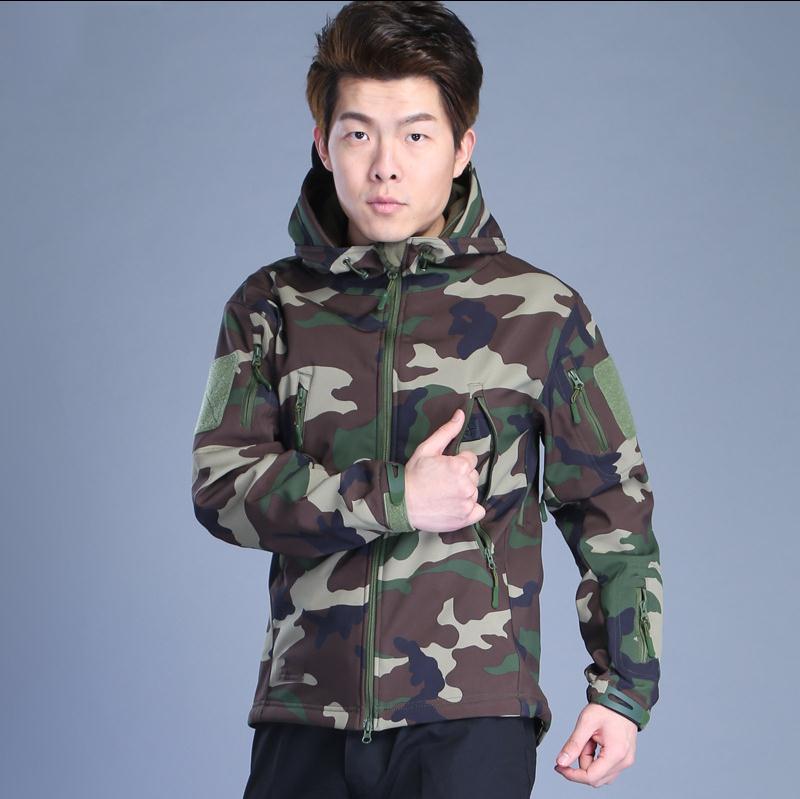 Prix pour Chaude 17 D'hiver En Plein Air Sharkskin Softshell Thermique Sportwear Manteau Camping Camouflage tactique Polaire formation Vestes Hoodies Hommes