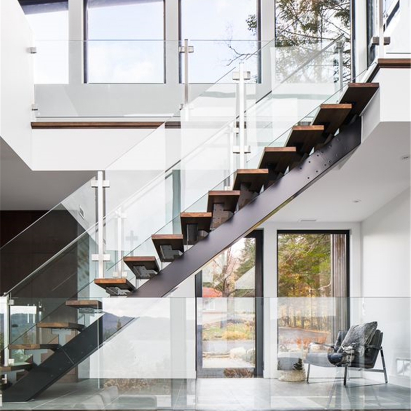 Galvanized Carbon Steel Stringer Straight Stair With Tempered   Steel Railing For Steps   Modular   Wooden   Terrace   Modern Farmhouse   Loha