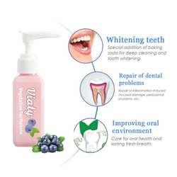 Пищевая Сода зубная паста удаление пятен отбеливающая Viaty зубная паста борьба кровотечение десны Свежая Черника бутилированная зубная