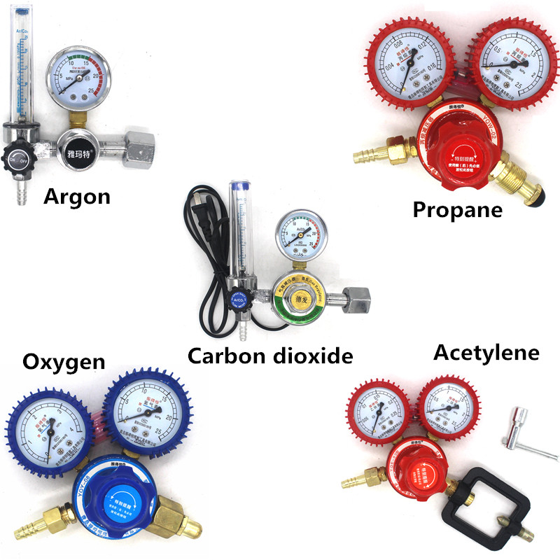 Acetylene Propane Argon Oxygen Carbon dioxide Gas pressure reducer Reducing Valve Welding Regulator medical oxygen regulator pressure flowmeters hot sales