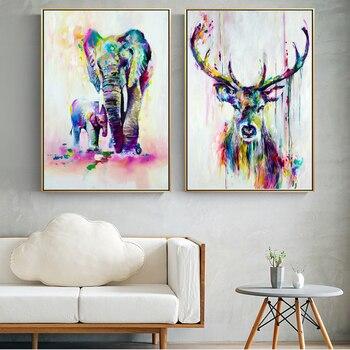 Acuarela Animales Lienzo Pintura Mural Elefante Y Ciervos Arte