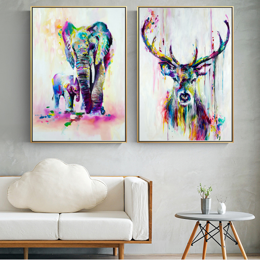 Watercolor Animals Canvas Art Wall Paintings Elephant And Deer Abstract Graffiti Art Prints Pop Art Wall Posters For Kids Room