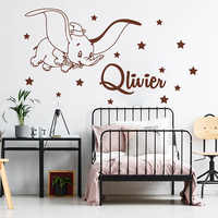 Cartoon Custom Name Dumbo Star Wall Decal Kids Room Bedroom Personalized Name Dumbo Animal Wall Sticker Nursery Vinyl Decor