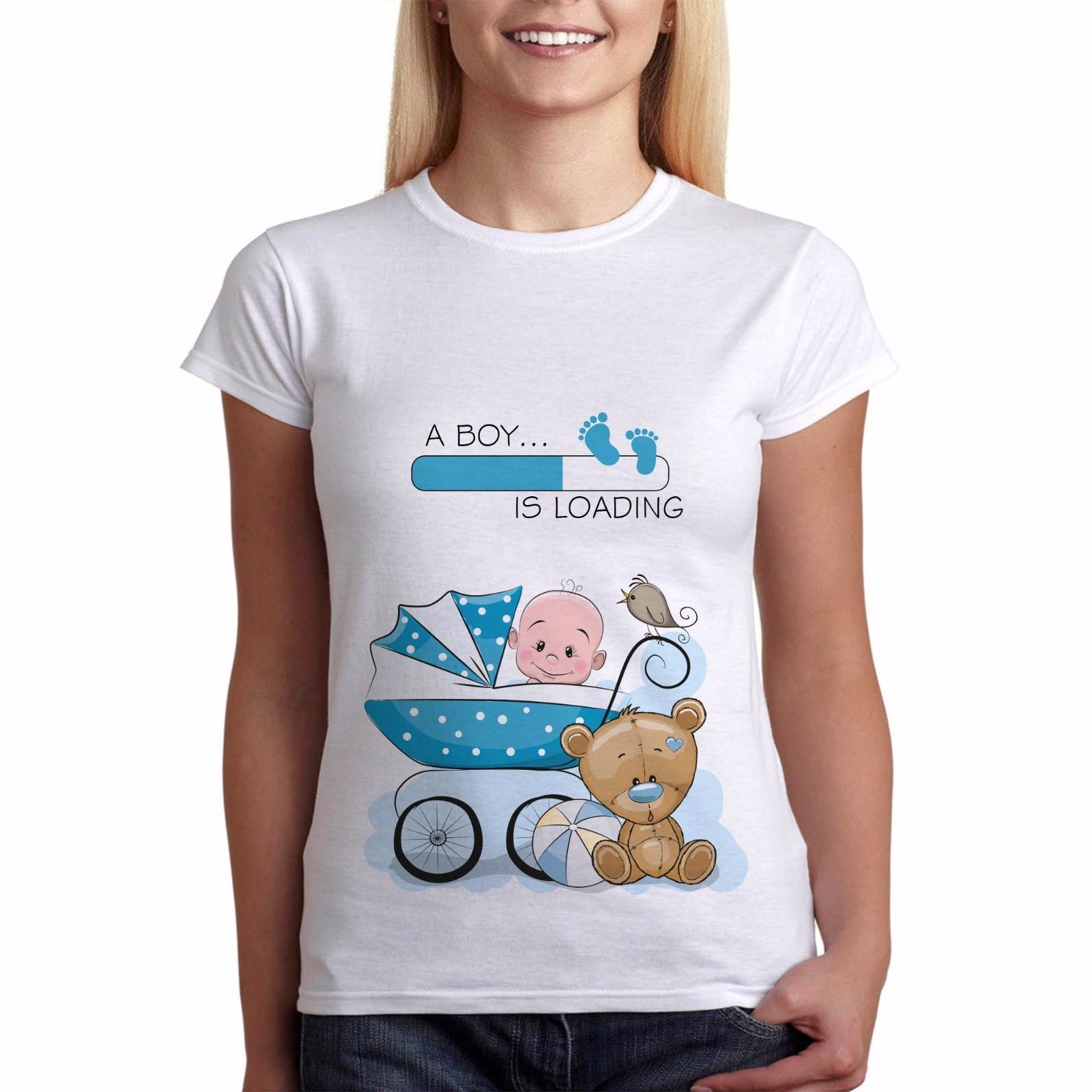 Divertente Gravidanza Maternità T-Shirt Vestiti Tees Ragazzo Sta Caricando Giraffa New White Harajuku Donne di Marca Top Stile di Estate T Shirt