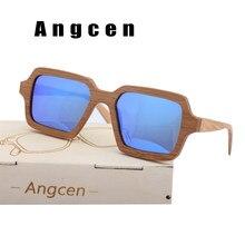 Angcen Main Hommes lunettes de soleil en bambou Polarisées Vintage Carré  lunettes de Soleil marque designer avec en bois étui à . 3c60c61ad6b3