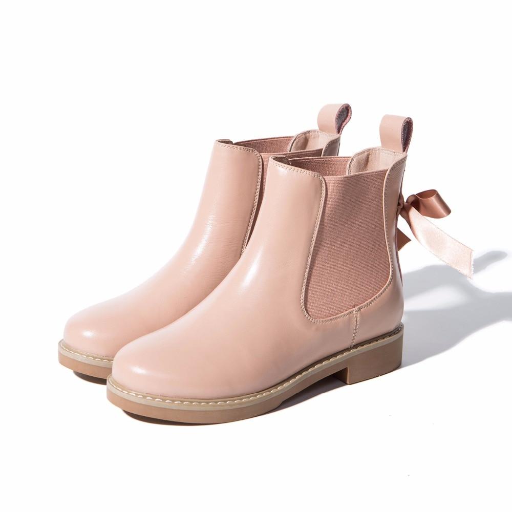 Ronde noeud 2018 Arden Furtado Papillon Chelsea Black brown Femme Sur Véritable pink Toe Slip Bottes En Cheville Appartements Nouveau Cuir Femmes Chaussures Ruban 776wqPr5