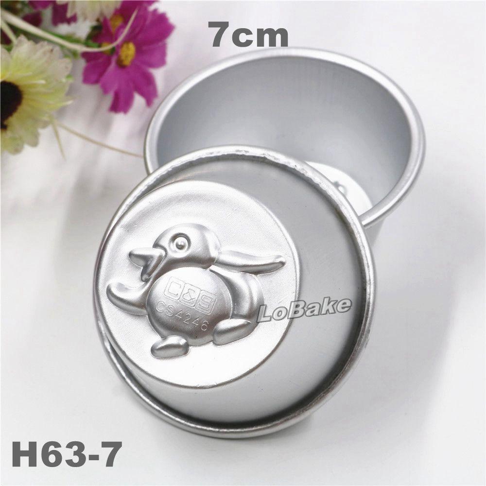 (10pcs/lot) 7cm diameter cute penguin shape aluminium round cup tray cupcake molding pudding mould bread candy baking tools