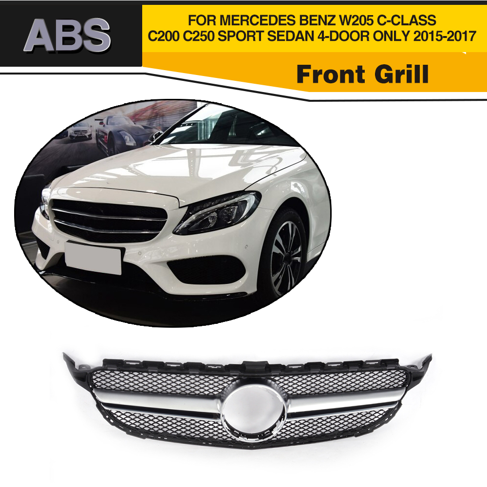 Diamond Car Front Grill For Mercedes Benz W205 C63 AMG Radiator Grille C-CLASS C200 C250 Sport Sedan 4-Door Only 2015-2017 w205 abs car side fender vent trim e amg still for benz w205 c180 c200 c300 4 door not fit for c63 amg 2015 2018