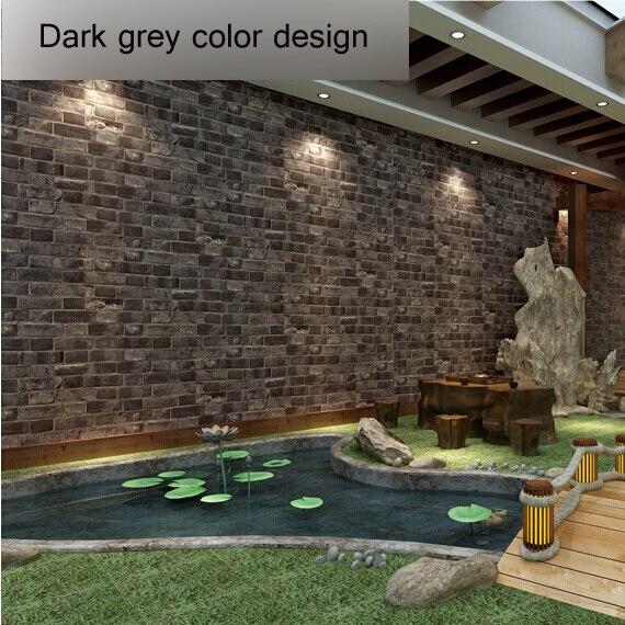 Popular dark grey room buy cheap dark grey room lots from for Grey brick wallpaper living room