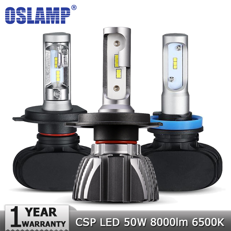 купить Oslamp H4 H7 H11 H1 H3 9005 Car LED Headlight Bulbs Hi lo Beam CSP Chips 50W 6500K 8000lm Headlights Auto Led Headlamp 12v 24v по цене 1148.48 рублей