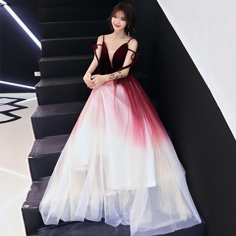 Wedding Toast Dress 2019 New Summer Fashion Gradient Elegant Married Female Sense Was Thin Long Evening Dress Female S-XXL