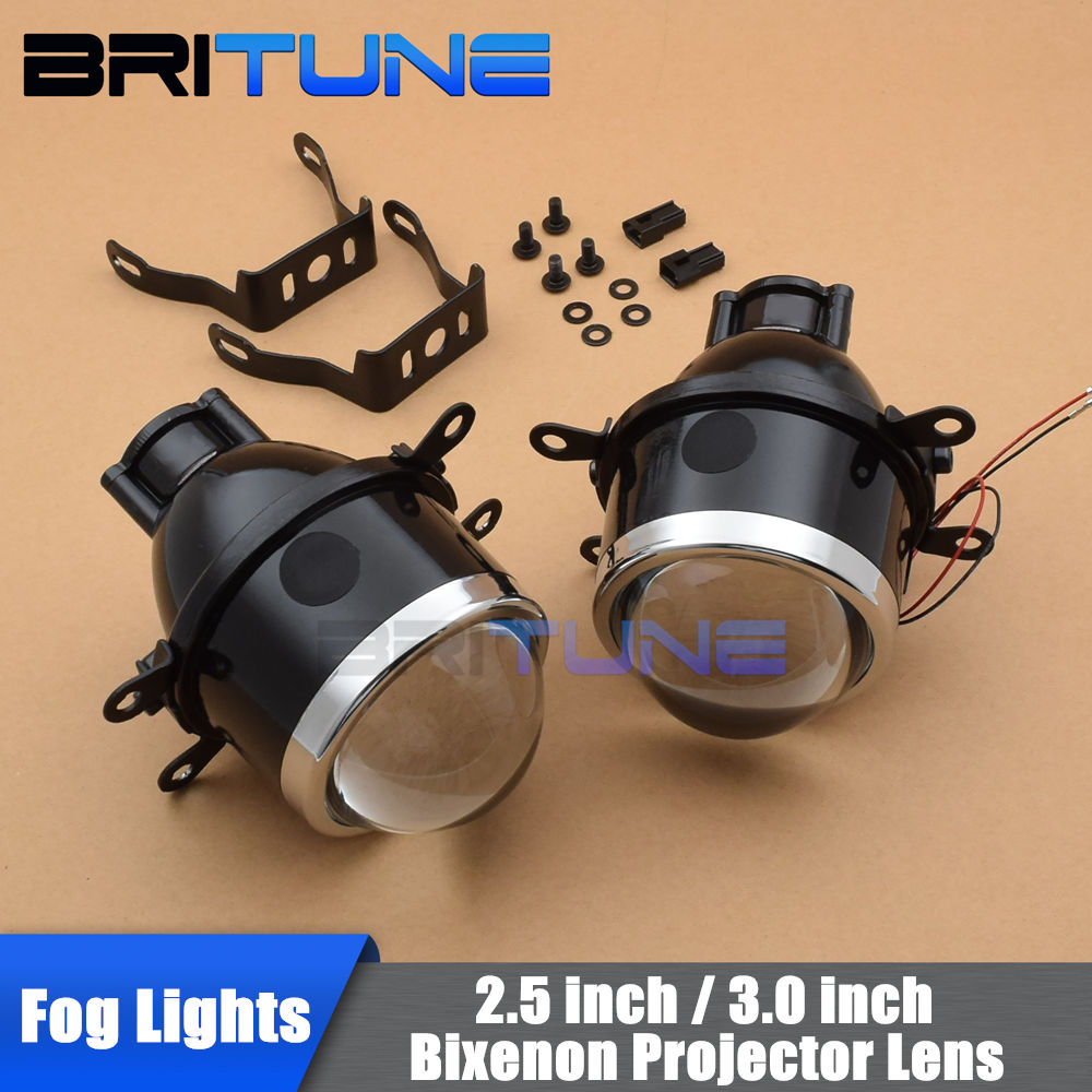 2 5 inch 3 0 inch Universal HID Bixenon Fog Lights Projector Lens Bifocal Driving font