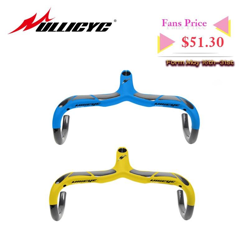 Bleu jaune haute qualité route carbone guidon cyclisme Cycle plié Bar pièces de vélo noir 28.6mm tiges 3 K mat et brillant