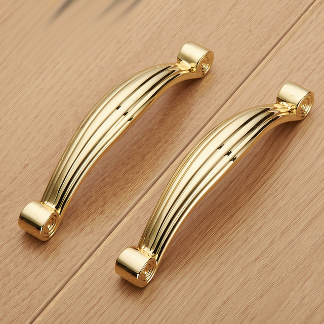96mm Cabinet Handles Kitchen Bathroom Cabinet Wardrobe Handles Zinc Alloy  Solid Gold Furniture Handles Knobs Drawer