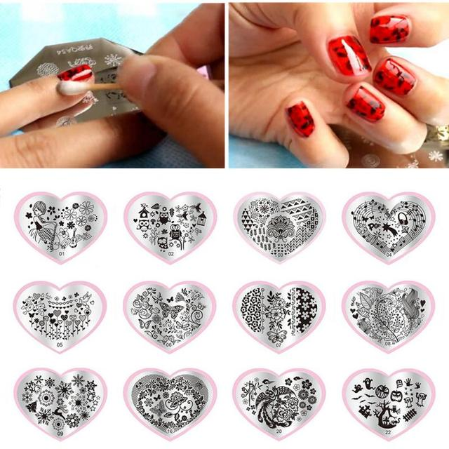 Nail Art DIY Print Stamp Template Heart Nails Image Stencil Stamp ...