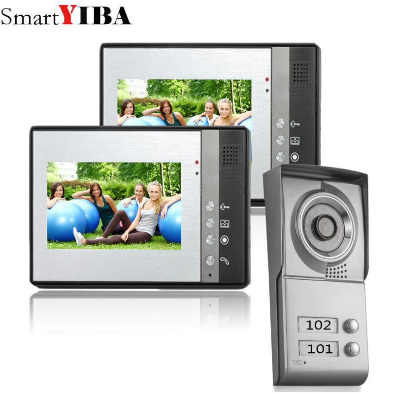 SmartYIBA 2 Unit Apartment Video Intercom 7 Inch Video Door Phone Doorbell Intercom System IR Door Camera