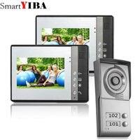 SmartYIBA 2 Unit Apartment Video Intercom 7 Inch Video Door Phone Doorbell Intercom System IR Door