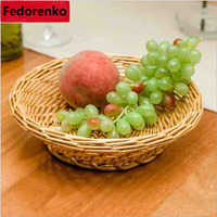 Kitchen Organization Bead Dry Fruit Storage Trays Food Fruit Rattan Wicker Basket Craft Dining Room Decorative