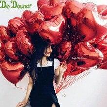 50 sztuk/partia czerwone różowe balony w kształcie serca kocham cię balony nadmuchiwane piłki 18 cali aluminium balon materiały na wesele