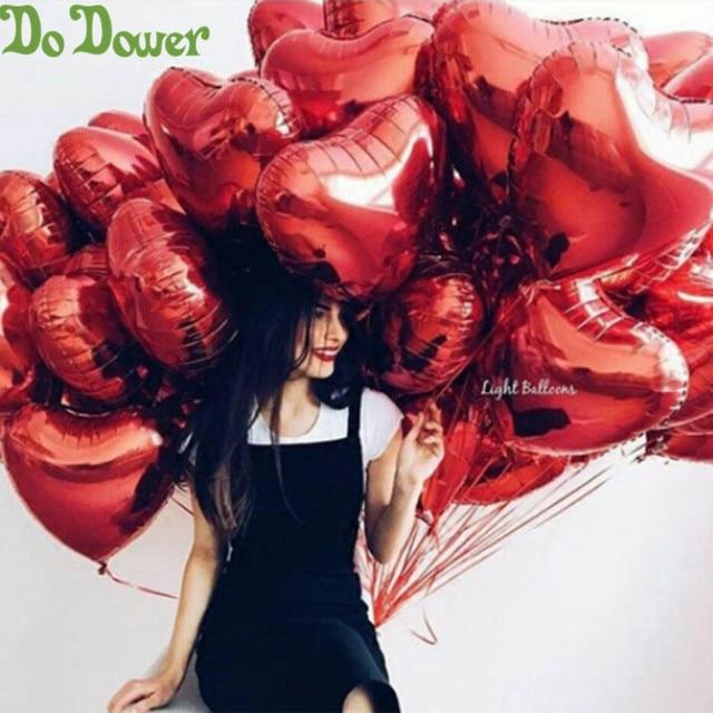 50 יח\חבילה אדום ורוד בצורת לב בלוני אני אוהב אותך בלונים מתנפח כדורי 18 אינץ אלומיניום בלון חתונה ספקי צד