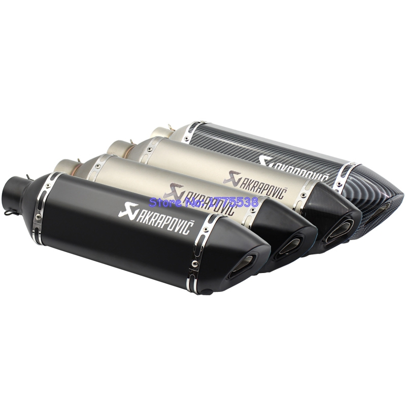 PHULEOVEO Left Side Universal Motorcycle Exhaust Pipe Muffler ID:51mm/61mm L:470mm Motorbike Muffler Exhaust Escape Damper Baffl