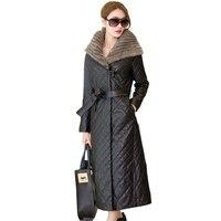 Sheepskin Mink Fur Hooded Parkas Winter Womens Down Jackets 2018 New Plus Size Long Female Jacket