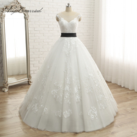 Angel married Scalloped Lace Tulle Bridal Dress Real Photos Short Train Beading Belt Lace Champagne Princess Wedding Dresses