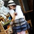 Besty настоящее белый фокс меховой жилет природный лисий мех жилеты длинные длина зима толстые теплые высокое качество всего натуральной кожи подлинной пальто