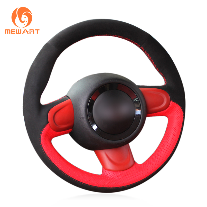 MEWANT Red Genuine Leather Black Suede Car Steering Wheel Cover for Mini Coupe runba breathable leather steering wheel cover sets black white red
