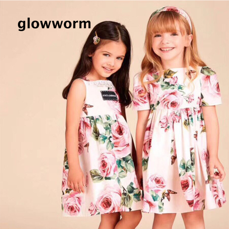 Glowwormkids Girls Dress 2018 Spring Summer Kids Clothes Runway Dress Girls Children Clothing Rose Flowers Print 2-7T hs020