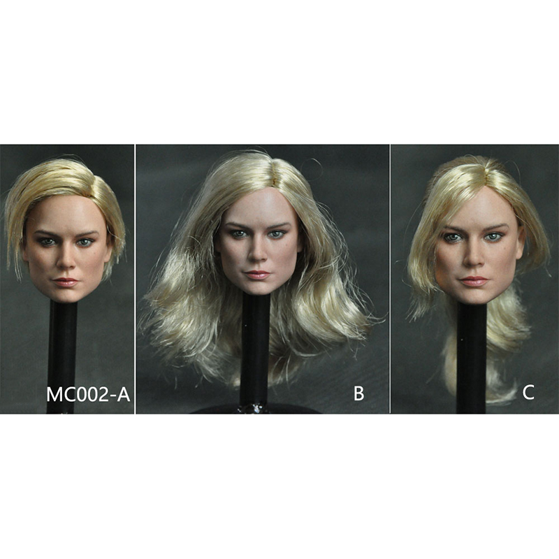 In Stock 3 Styles 1/6 MC002 Brie Larson Female Head Sculpt With Long Hair For 12''Action Figures Bodies Accessories Toys Gifts