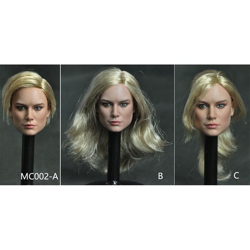 1//6 MC002B Captain Marvel Blonde Hair European Girl Head Carving F 12/'/' Figure