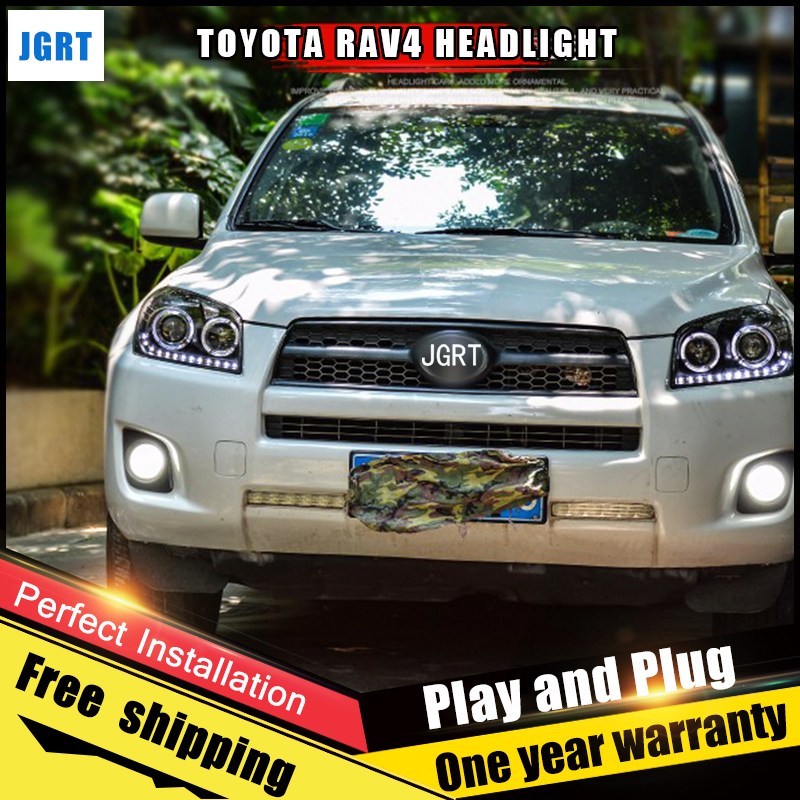 2PCS Car Style LED headlights for Toyota RAV4 2009-2013 for RAV4 head lamp LED DRL Lens Double Beam H7 HID Xenon bi xenon lens hireno headlamp for 2003 2009 toyota land cruiser prado headlight assembly led drl angel lens double beam hid xenon 2pcs