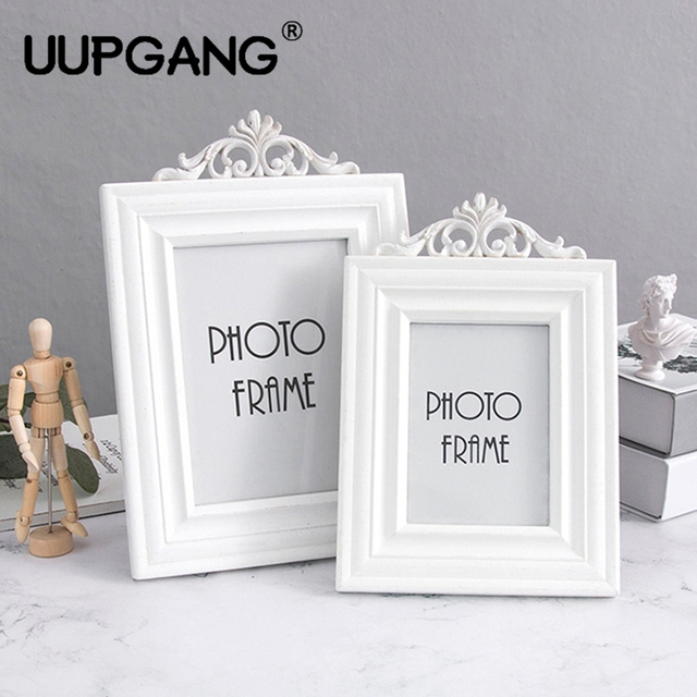 1pcs White Vintage Wood Manual Carved Photo Frame European Style ...