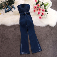 wreeima 2019 New Fashion Sexy High Waist Strapless Jumpsuit For Tall Women High Qaulity summer blue Rompers Denim Trousers