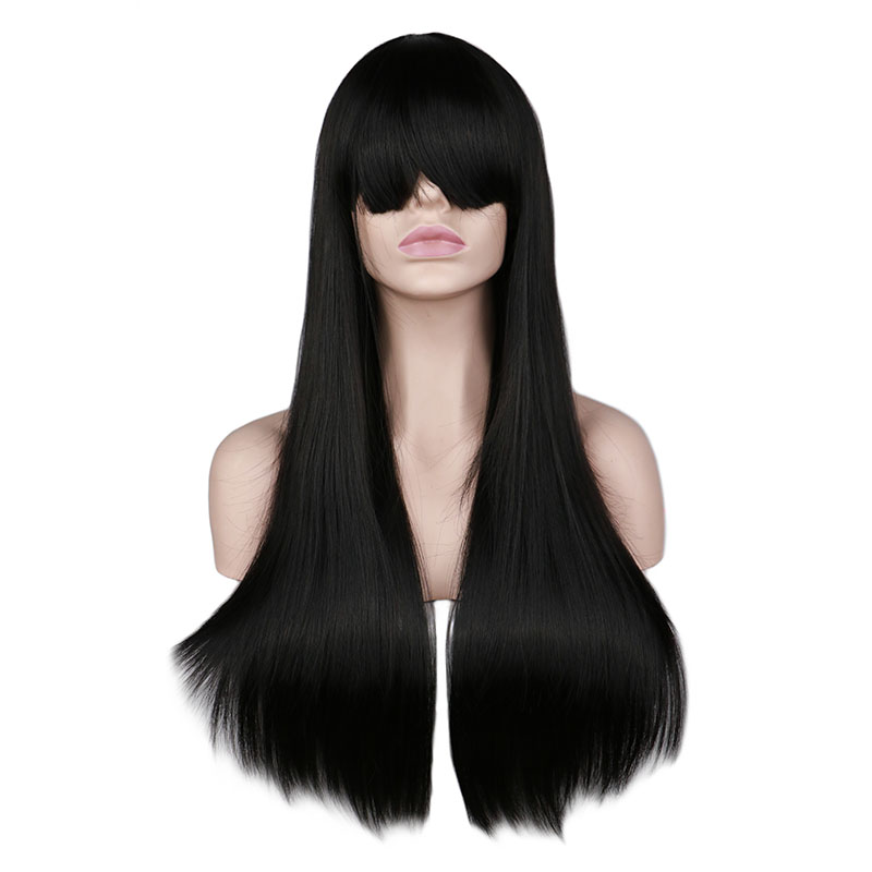 QQXCAIW Women Natrual Long Wavy Full Head Wig Cosplay Black Red Pink Blonde Light Brown Dark Brown 68 Cm Synthetic Hair Wigs