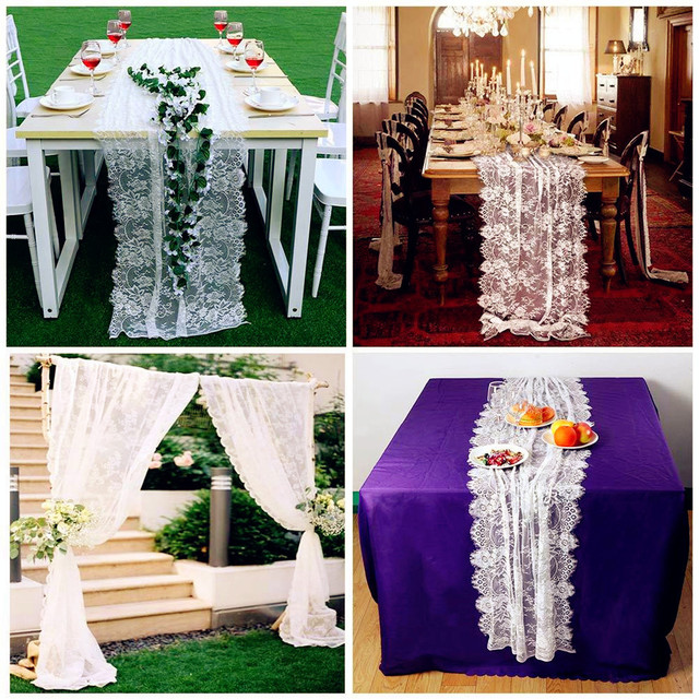 Ourwarm white floral lace table ru
