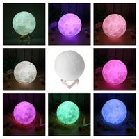 LED Night Light 3D Print Moon Lamp Luna Magic Touch Full Moonlight Portable 7 Colors Change