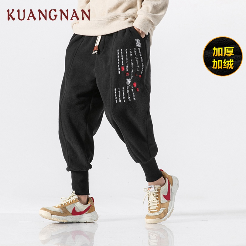 KUANGNAN Chinese Embroidery Woolen Pencil Pants Men Jogger Japanese Streetwear Joggers Men Pants Hip Hop Trousers Men Pants 2019