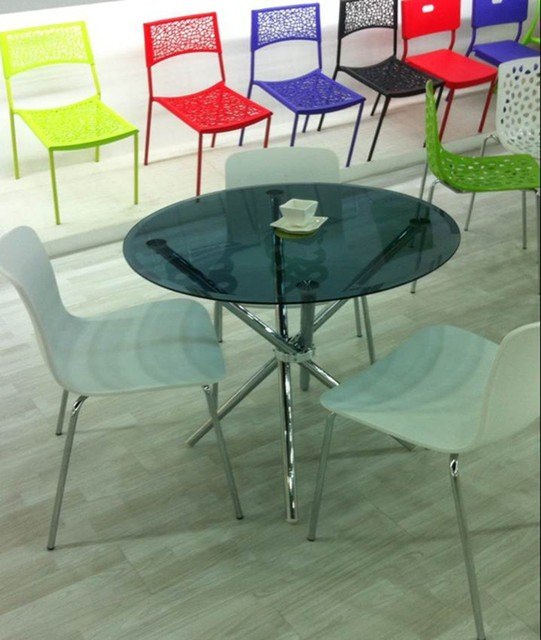 Black transparent glass dining table. Fashion negotiation table.