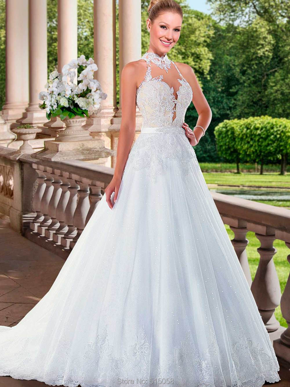 Halter Top A Line Wedding Dress Www Pixshark Com