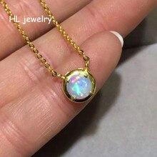 6x6 мм прекрасная маленькая огненный Природный Опал Круглый кулон ожерелье из стерлингового серебра 925 пробы