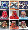 Горячая продажа! женская большой шелковый шарф женские летние солнцезащитный крем шаль девушки цветок печати атласный шарф пашмины 20 цвета 90*90 см