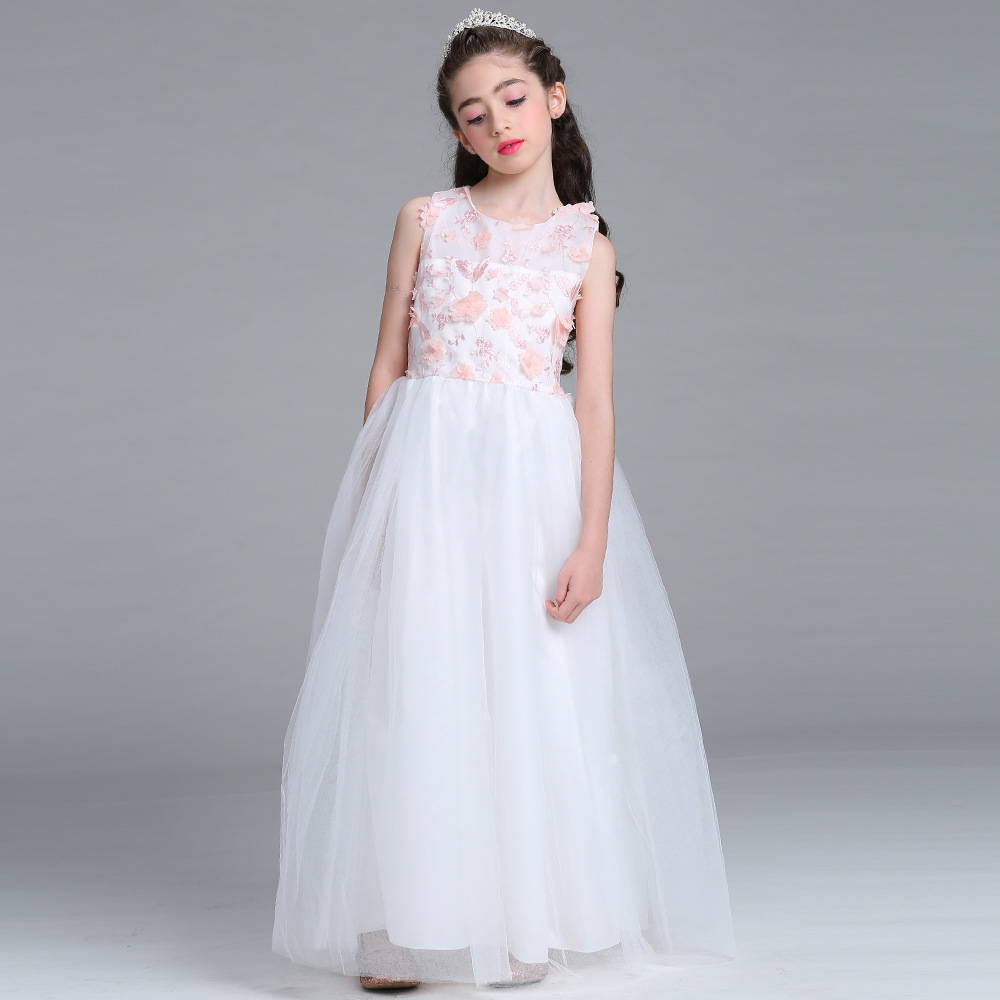 Kids Girls Party Dress petal Lace Flower Girls Formal Bridesmaid Wedding Girl Christmas Princess Ball Gown Vestido 4-14Y girls long formal dress 2017 flower girls princess dresses kids lace vintage evening party ball gown children s wedding dress